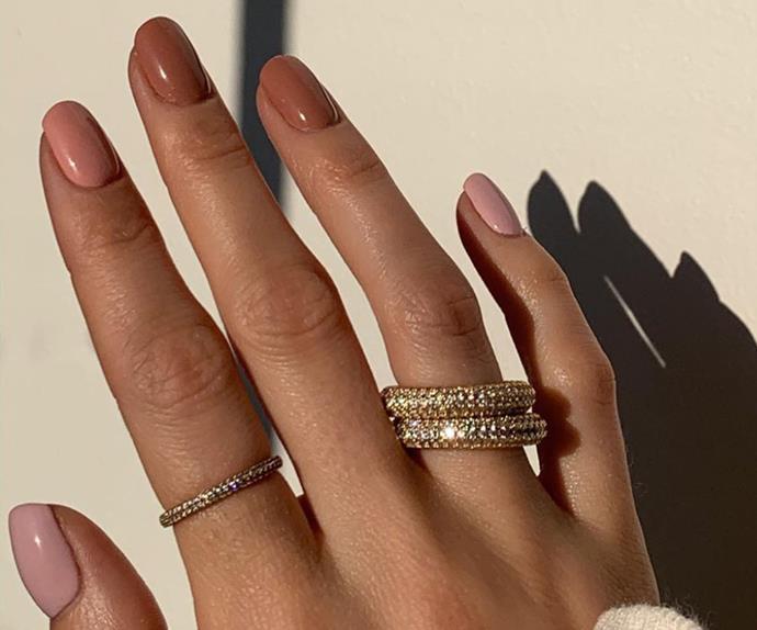 Brown nail polish trend, toffee shades.