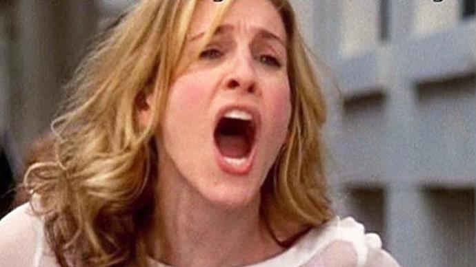 """Carrie Bradshaw from 'Sex and the City' yelling """"You're so busy."""""""