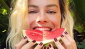 "Margot Robbie's Take On ""Watermelon Sugar"" Nails Is Perfect For Winter"