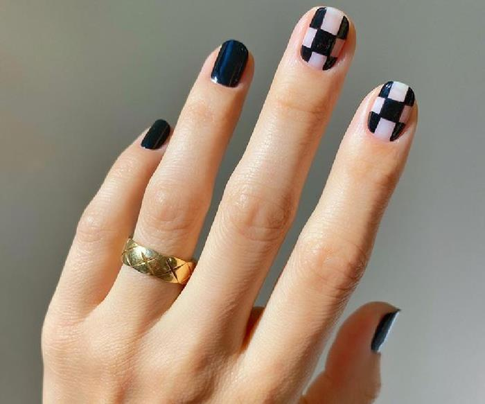 'Checkerboard Nails' Are The Must-Have Manicure To Go With Your 'The Queen's Gambit' Obsession