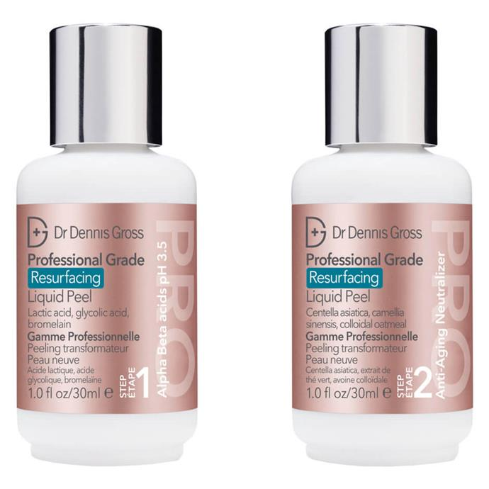 "Instead of a daily or twice-daily cleanse, this liquid exfoliation peel is meant for use three times a week and helps to rejuvenate and resurface tired skin.<br><br> Professional Grade Resurfacing Liquid Peel by Dr Dennis Gross, $145 at [MECCA](https://www.mecca.com.au/dr-dennis-gross/professional-grade-resurfacing-liquid-peel/I-039156.html#q=exfoliating&start=1|target=""_blank""