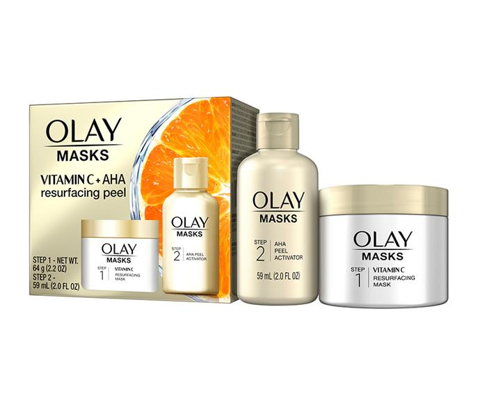 "Consider your hunt for the best face exfoliator over. Meet the new (and seriously affordable) [Olay Vitamin C Mask & AHA Resurfacing Peel](http://bit.ly/2LSpXDb|target=""_blank""