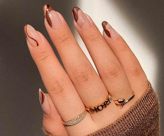 Chocolate whip manicure nail art trend 2021.