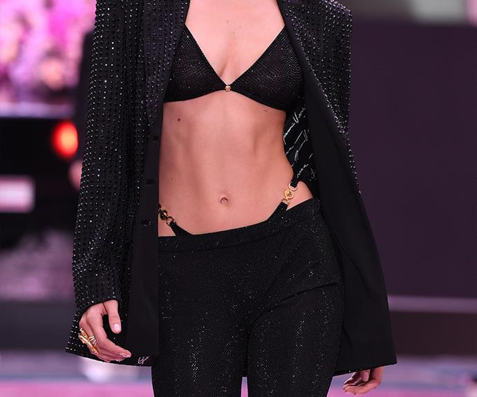 Bella Hadid for versace wearing a G-String