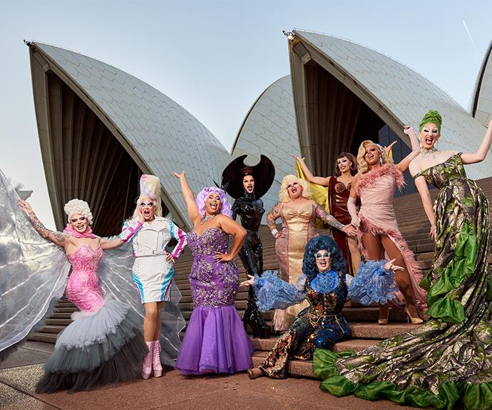 RuPaul's Drag Race Down Under cast in front of the Opera House