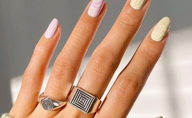 'Psychedelic Nails' Is The Marble Manicure Trend Taking Your Digits Back To The '60s