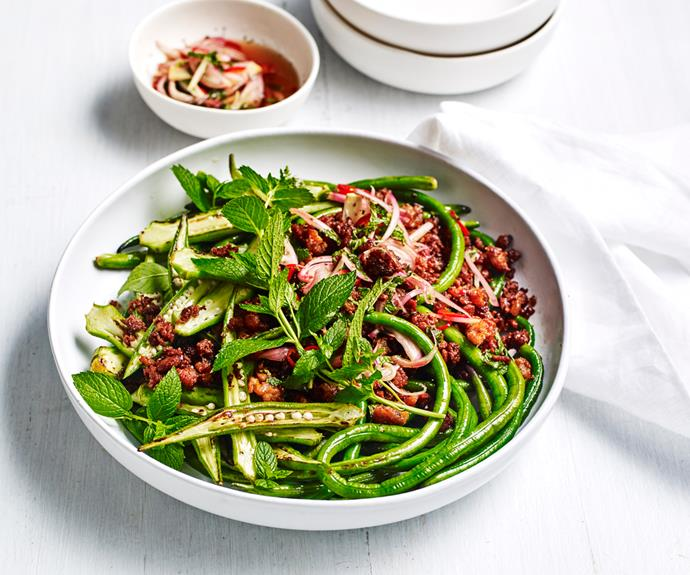 "**[Crisp pork belly stir-fry with snake beans and okra](https://www.gourmettraveller.com.au/recipes/fast-recipes/pork-belly-stir-fry-19177|target=""_blank"")**"