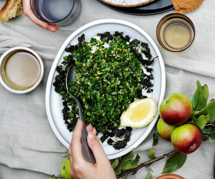 """**[Sean Moran's parsley salad with finger lime](https://www.gourmettraveller.com.au/recipes/chefs-recipes/parsley-salad-19179 target=""""_blank"""")**"""