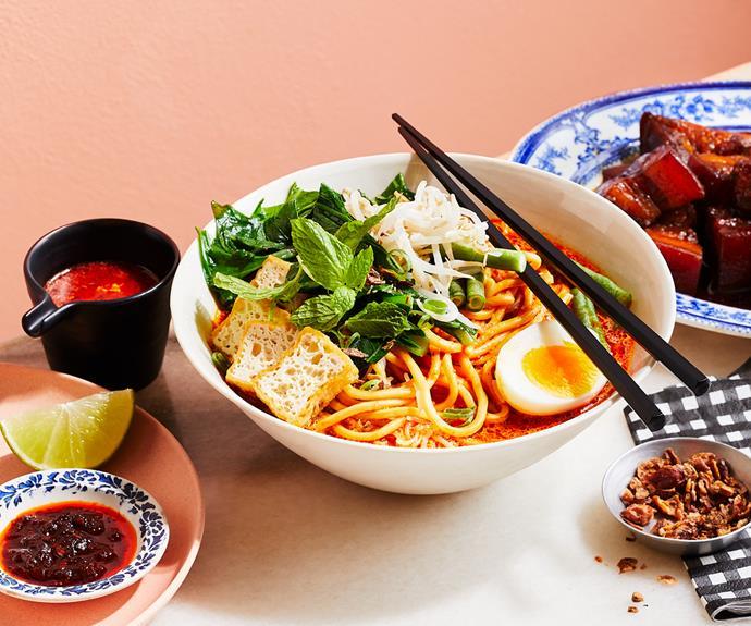 "**[Junda Khoo's curry laksa (laksa lemak)](https://www.gourmettraveller.com.au/recipes/chefs-recipes/curry-laksa-19180 target=""_blank"")**"