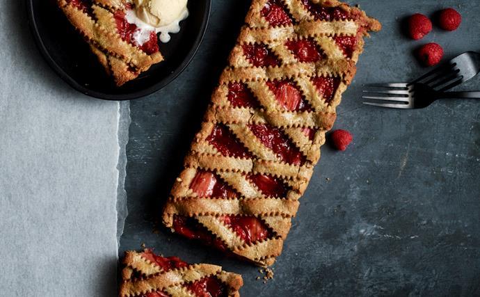 Rhubarb and berry Linzertorte
