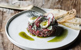 Alla Wolf-Tasker's tartare of Brooklands British White beef with pickled shallot