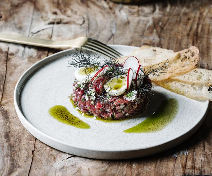 """[**Tartare of Brooklands British White beef**](https://www.gourmettraveller.com.au/recipes/chefs-recipes/beef-tartare-pickled-shallots-19190 target=""""_blank"""") <br/> """"Eat a little less meat and go for the good stuff, with animals you know are not only well cared for but also grass fed,"""" says Alla Wolf-Tasker."""