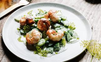 Alla Wolf-Tasker's local yabbies, farm cucumbers, dill and whey dressing