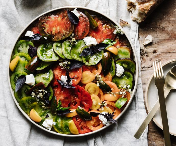 """**[Heirloom tomato and house-made ricotta salad](https://www.gourmettraveller.com.au/recipes/chefs-recipes/heirloom-tomato-salad-ricotta-19192 target=""""_blank"""")** <br/> """"If you've gone to the trouble of growing or sourcing the best tomatoes, don't store them in the fridge,"""" says Wolf-Tasker. """"Always serve tomatoes at room temperature for maximum flavour."""""""