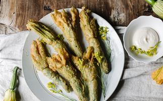 Alla Wolf-Tasker's tempura zucchini flowers