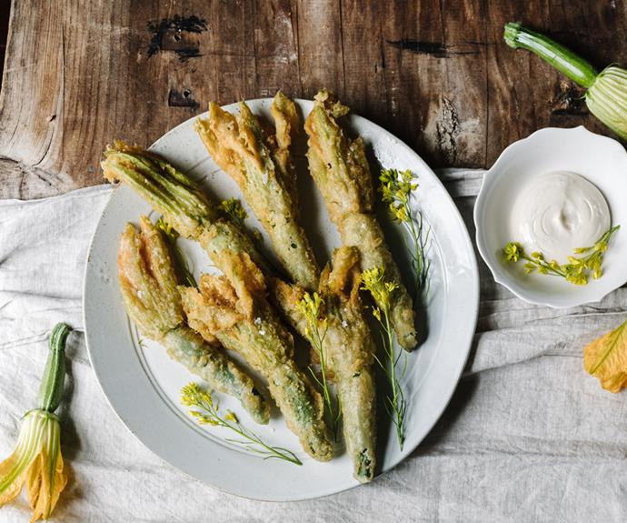 """**[Tempura zucchini flowers](https://www.gourmettraveller.com.au/recipes/chefs-recipes/tempura-zucchini-flowers-19194 target=""""_blank"""")** <br/> """"We often serve these zucchini flowers with a sauce Jacqueline,"""" says Wolf-Tasker. """"But they are also excellent on their own, crisp and well-seasoned."""""""