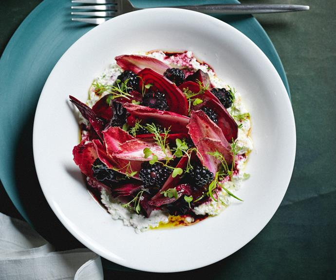 Kelda Haines's goat's cheese, beetroot and blackberry salad