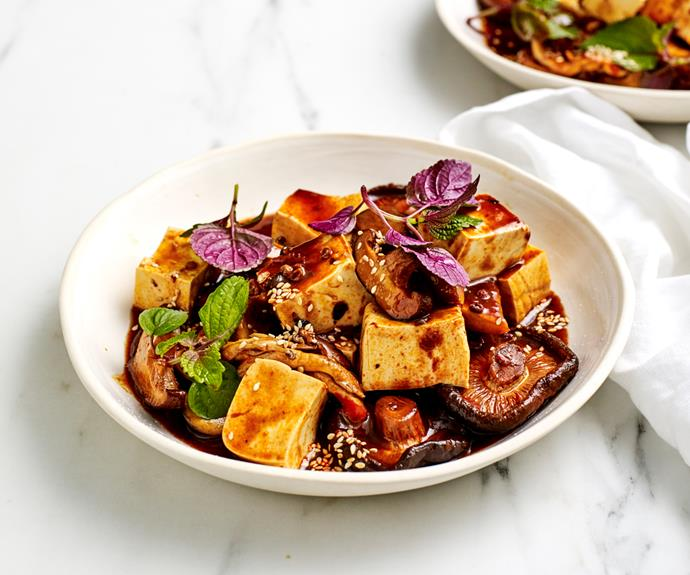 "**[Mushroom mapo tofu](https://www.gourmettraveller.com.au/recipes/fast-recipes/mushroom-ma-po-tofu-19227 target=""_blank"")**"