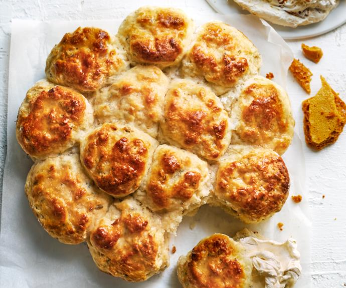 """**[Fennel and thyme scones with hokey pokey butter](https://www.gourmettraveller.com.au/recipes/browse-all/savoury-scones-19230 target=""""_blank"""")**"""