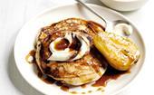 Chocolate, tahini and pear pancakes