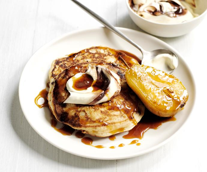 """**[Chocolate, tahini and pear pancakes](https://www.gourmettraveller.com.au/recipes/fast-recipes/chocolate-pancakes-19231 target=""""_blank"""")**"""