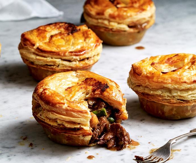"**[Beef rendang pies](https://www.gourmettraveller.com.au/recipes/browse-all/beef-rendang-pie-19236|target=""_blank"")**"