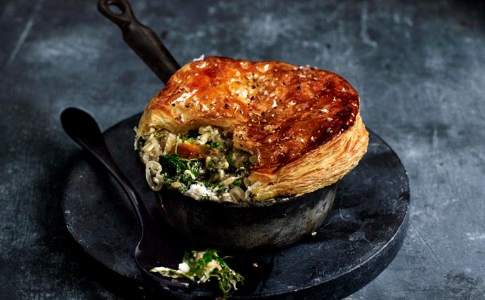 Triple-cheese pot pies with braised greens