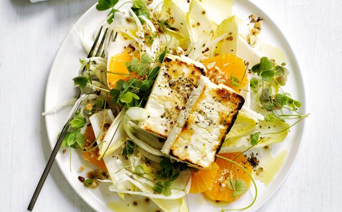 Baked feta salad with mandarin and fennel