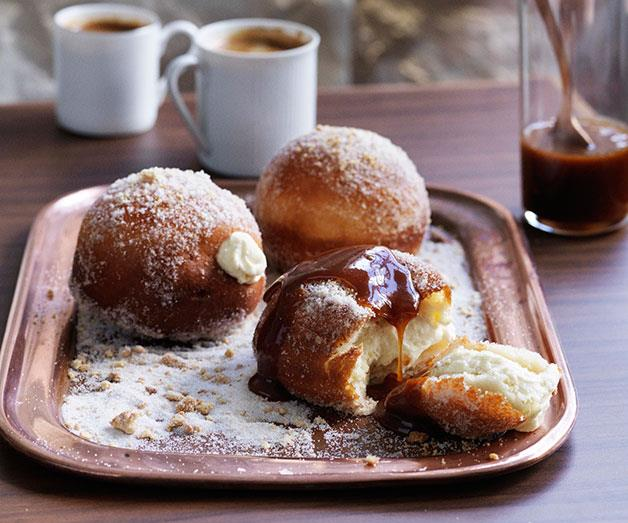 """[**Cheesecake doughnuts with salted caramel**](https://www.gourmettraveller.com.au/recipes/browse-all/cheesecake-doughnuts-with-salted-caramel-11712