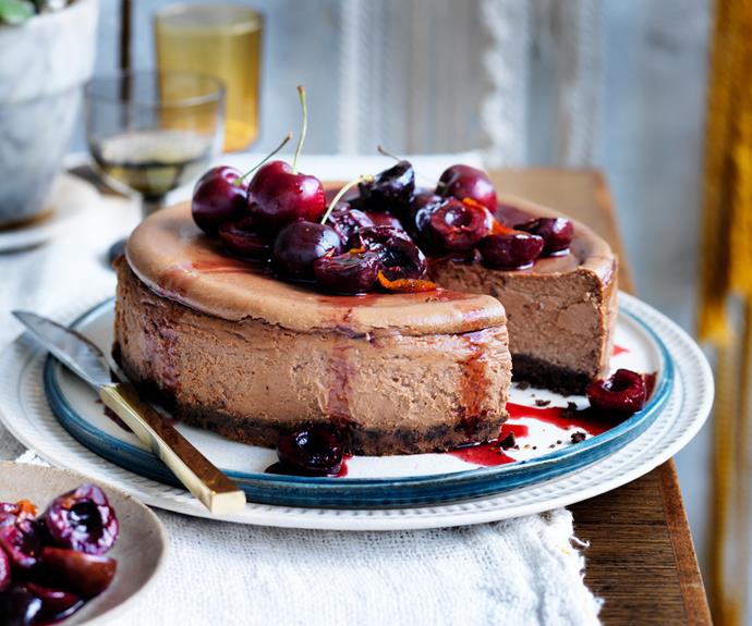 """**[Black Forest cheesecake](https://www.gourmettraveller.com.au/recipes/browse-all/black-forest-cheesecake-12653