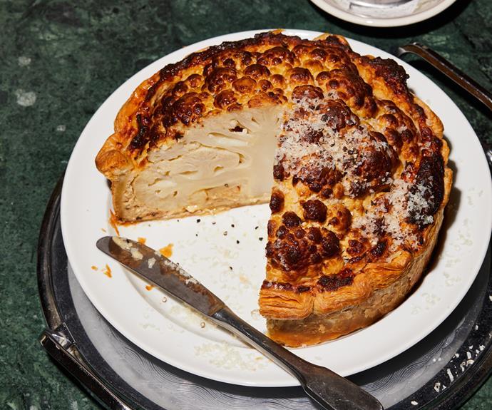 "**[Nik Hill's cauliflower cheese tart](https://www.gourmettraveller.com.au/recipes/chefs-recipes/cauliflower-cheese-tart-19287 target=""_blank"")**"