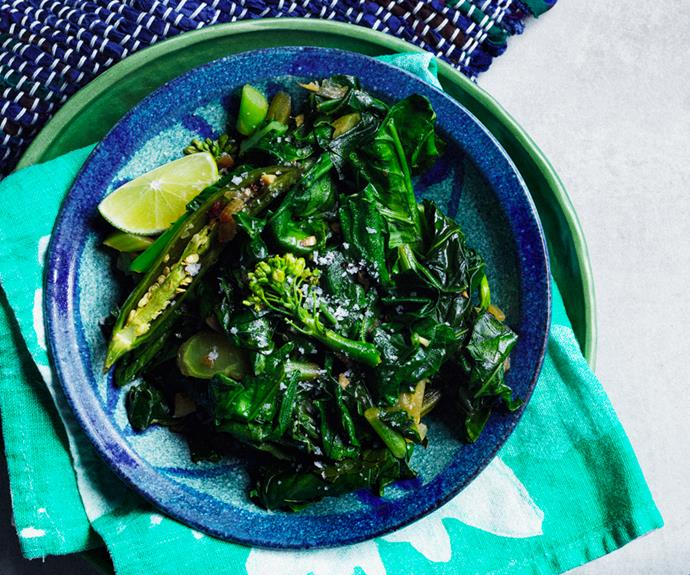"""[**Hamli (braised greens)**](https://www.gourmettraveller.com.au/recipes/chefs-recipes/hamli-19299 target=""""_blank"""") <br/> """"This is a winter staple in Ethiopia,"""" says Alemayoh. """"Hamli is a green vegetable that grows all over the countryside come winter time. It's called Chinese broccoli in Australia."""""""