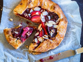 Rustic plum and strawberry crostata