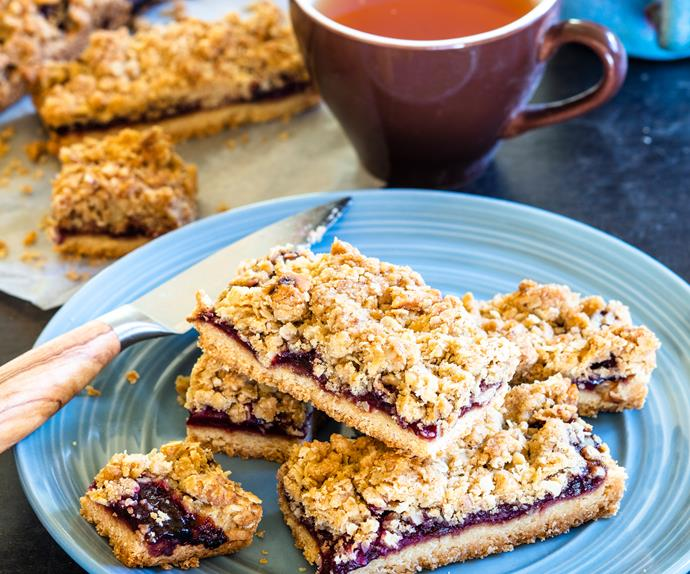 Plum and walnut bars
