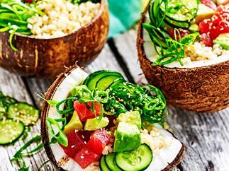 Hawaiian brown rice poke bowl