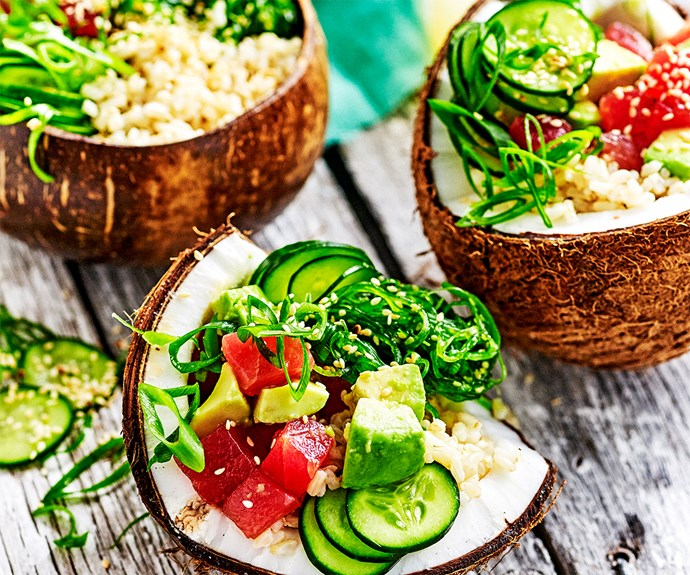 Hawaiian brown rice poke bowl
