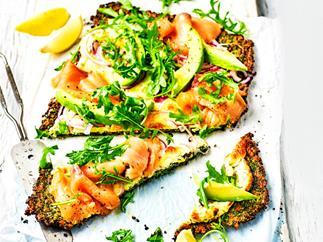 Smoked salmon and avocado kale pizza