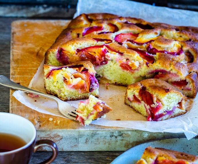 Sweet nectarine olive oil cake