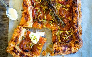 Apricot and rosemary pistachio tart