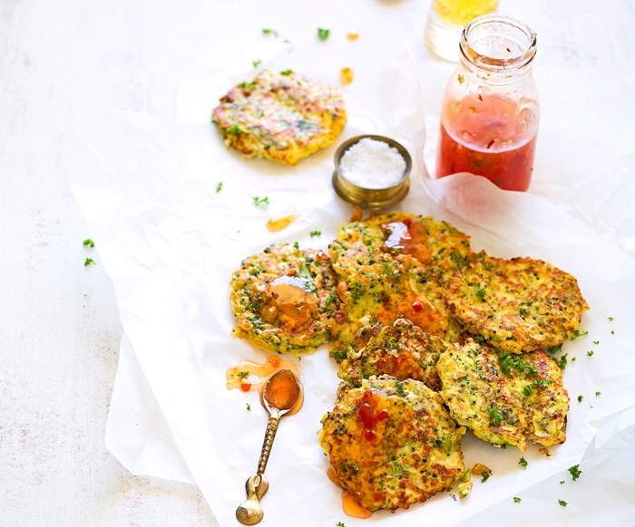 Broccoli and haloumi fritters