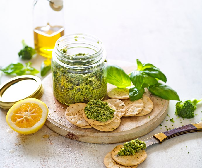 """Sophie Gray's [broccoli and walnut pesto](https://www.foodtolove.co.nz/recipes/broccoli-and-walnut-pesto-33234