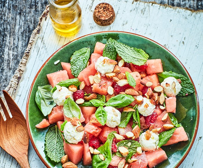 Watermelon and homemade labneh