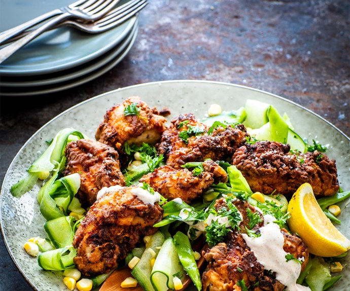 Crispy fried chicken with courgette and corn salad