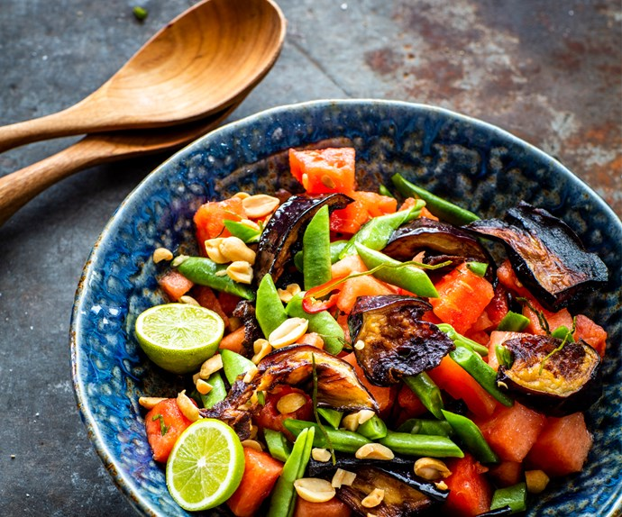 Watermelon, eggplant and beans