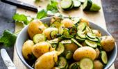 Buttery potatoes and minted courgettes