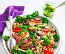Lamb, haloumi and kale salad with chimichurri dressing