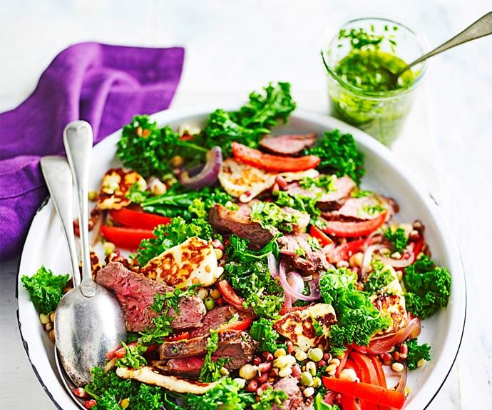 Lamb, haloumi and kale salad with chimichurri dressing