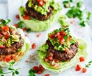 Bean and beef burgers with avocado smash