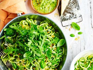 Courgette pasta with avocado and pesto