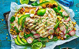 Chilli lime snapper with corn salsa salad